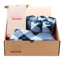 Ivory + Mason Groomsmen Socks - Personalized - Men's Argyle - Baby Blue - Premium Cotton - Size 8-13 (6 Pairs)