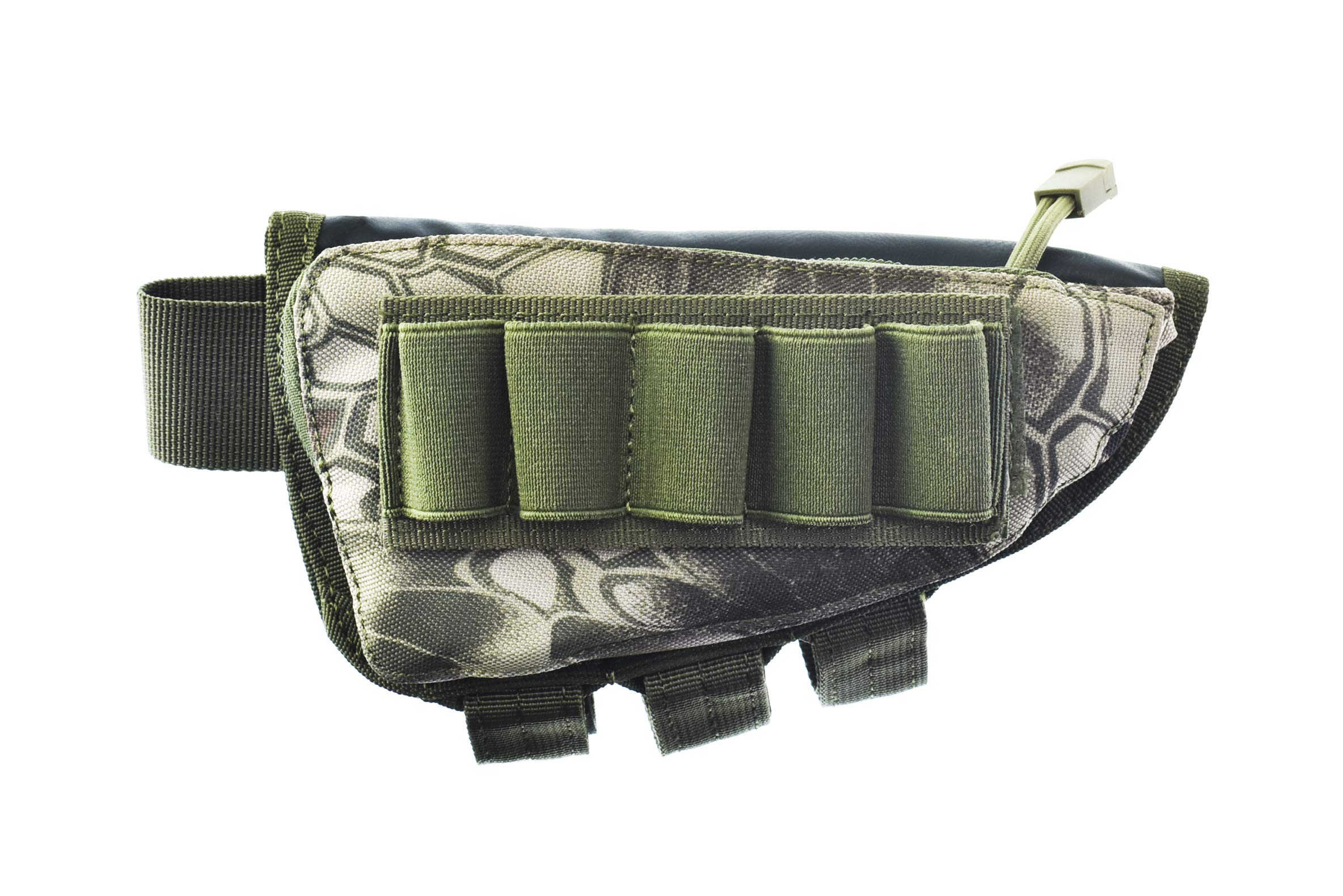 Risunpet Buttstock Ammo Holder Pouch Tactical Shell Holder for Shotgun Rifle Cheek Rest Pouch(Snake Green)