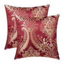 CaliTime Pack of 2 Supersoft Throw Pillow Covers Cases for Couch Sofa Home Decor Vintage Damask Fabric Floral Design 18 X 18 Inches Deep Red