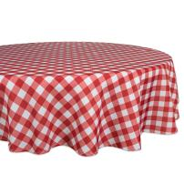 """DII 100% Polyester, Spill Proof, Machine Washable, Tablecloth for Outdoor Use, 60"""" Round, Red Check, Seats 4 People"""