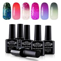 Perfect Summer Gel Nail Polish - Temperature Change Color Gel Polish, Cat Eye Gel Nail Polish, with Free Magnetic Stick, 4PCS Colors Collection, 10ml Each #08