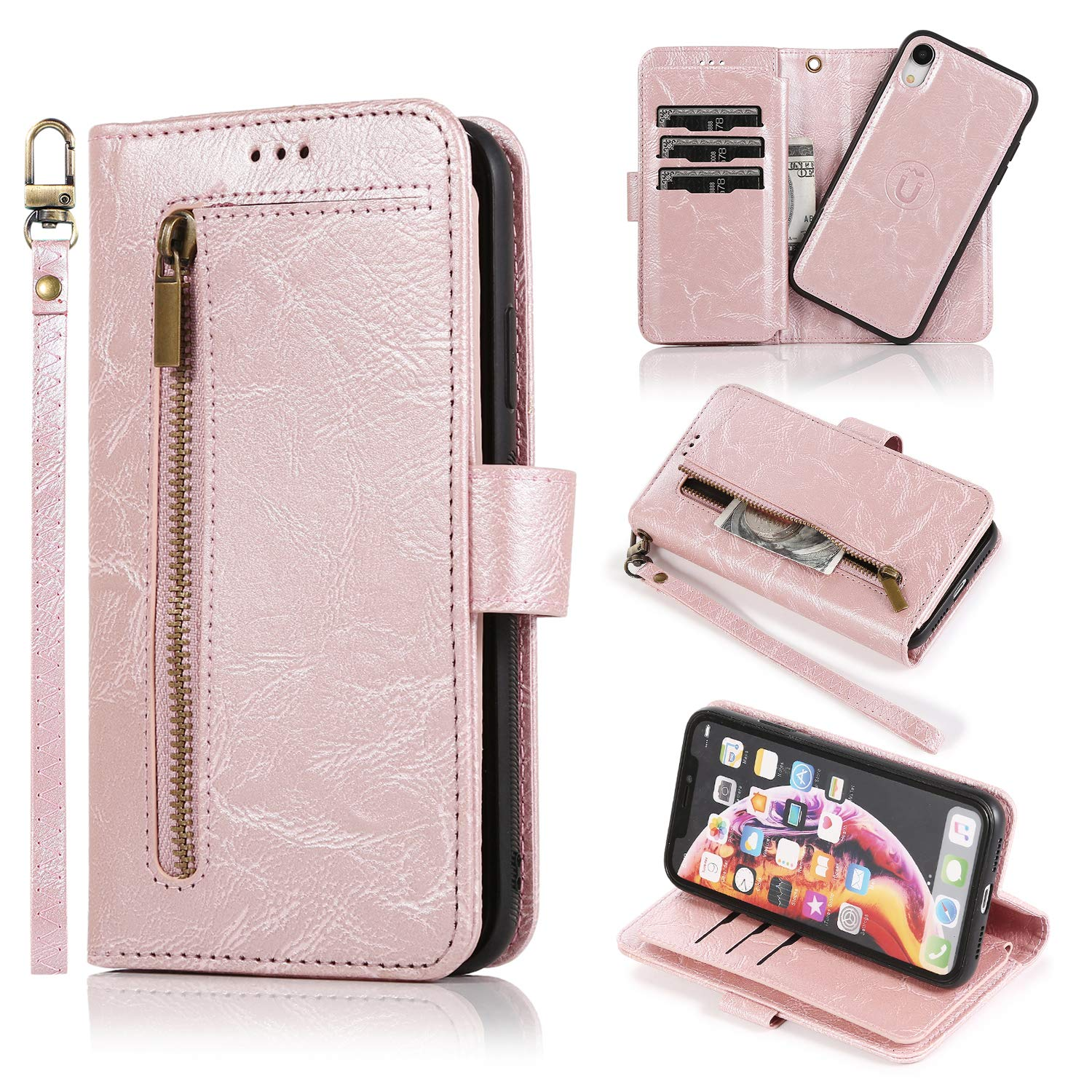 ZCDAYE 2-in-1 Zipper Wallet Case for iPhone XR,Premium PU Leather Magnetic Detachable Slim Flip Case Cover with 9 Card Slots & Wrist Strap for iPhone XR - Rose Gold