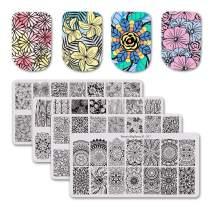 BEAUTYBIGBANG 4Pcs Nail Stamping Plate Flowers Theme - Rose Hibiscus Daisy Poppy Mandala Blossom Image Plate Nail Art Design Stamp Kit Manicure Template Set