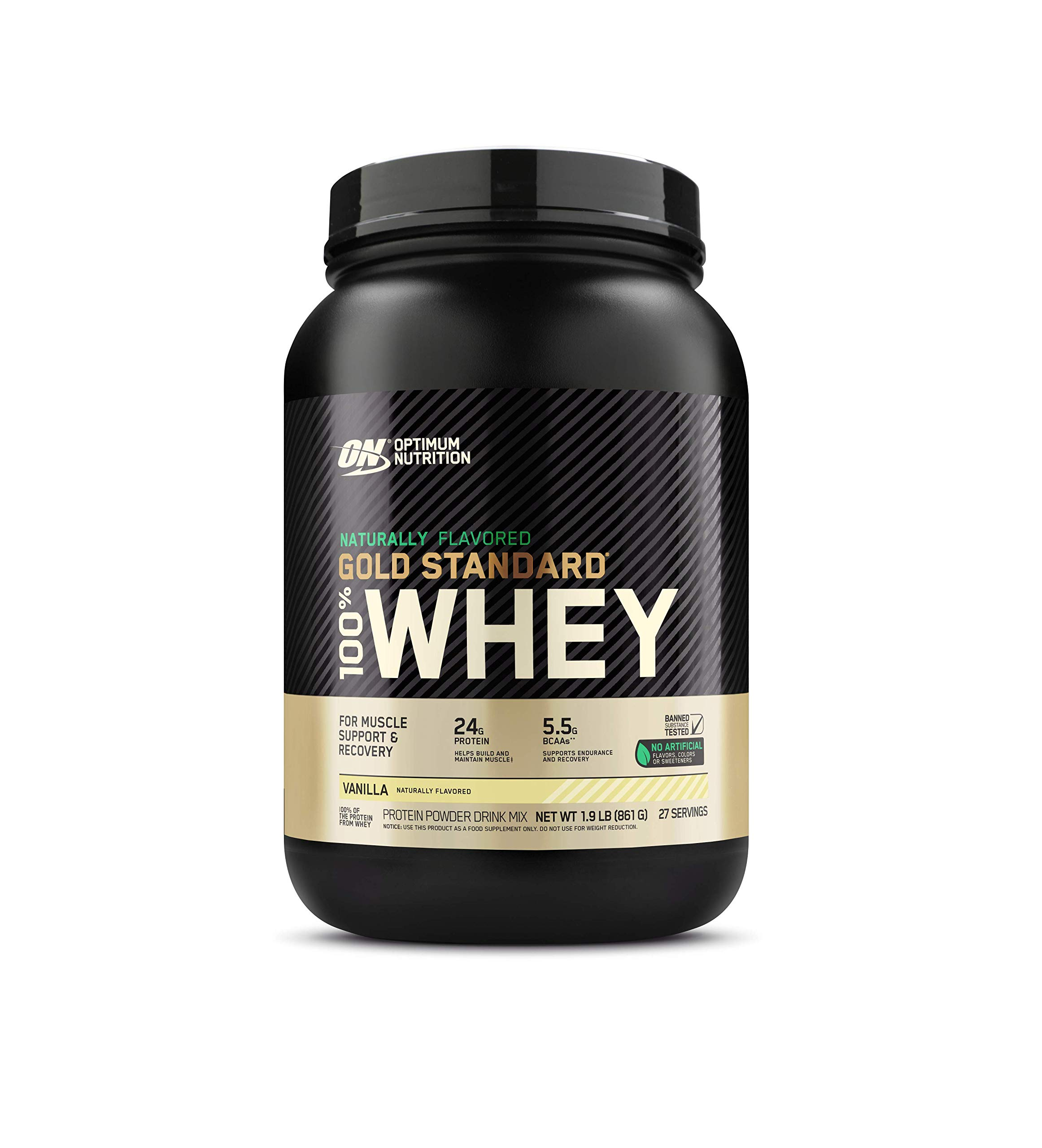 Optimum Nutrition Gold Standard 100% Whey Protein Powder, Naturally Flavored Vanilla, 1.9 Pound (Packaging May Vary)