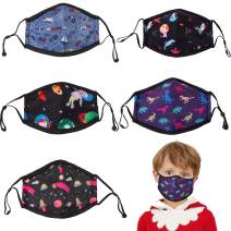 Neovivi Kids Child Cute Cartoon Face Mask Reusable Washable Breathable Cloth Cotton Face Protection Bandanas with Adjustable Earloops for Girls Boys