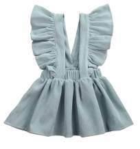 Infant Toddler Girl Ruffle Suspender Skirt Outfit Velvet Corduroy Skirt with Buttons Tulle Dress for Wedding