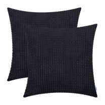 CaliTime Pack of 2 Comfy Throw Pillow Covers Cases for Couch Sofa Bed Decoration Comfortable Supersoft Corduroy Corn Striped Both Sides 24 X 24 Inches Black