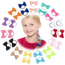 30 Pack: Girls No Crease Ouchless Stretch Elastic Hair Bow Ties Ponytail Holders