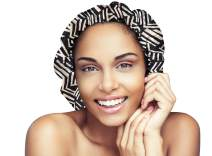 Satin Bonnet-Premium, Extra Large Satin Sleep Bonnet Cap, Double Layered, Reversible, Multi Color, (Afro Geo Print/Black) Adjustable Satin Cap by Glow By Daye