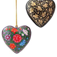 NOVICA Hand Painted Floral Heart Shaped Papier Mache Hanging Holiday Tree Ornaments, Season of Love' (Set of 4)