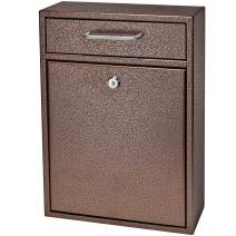 Mail Boss 7418 High Steel Locking Mounted Mailbox-Office Drop Comment Letter Deposit, Bronze Tamper-Proof Wall Hanging Secured Document Box, Medium
