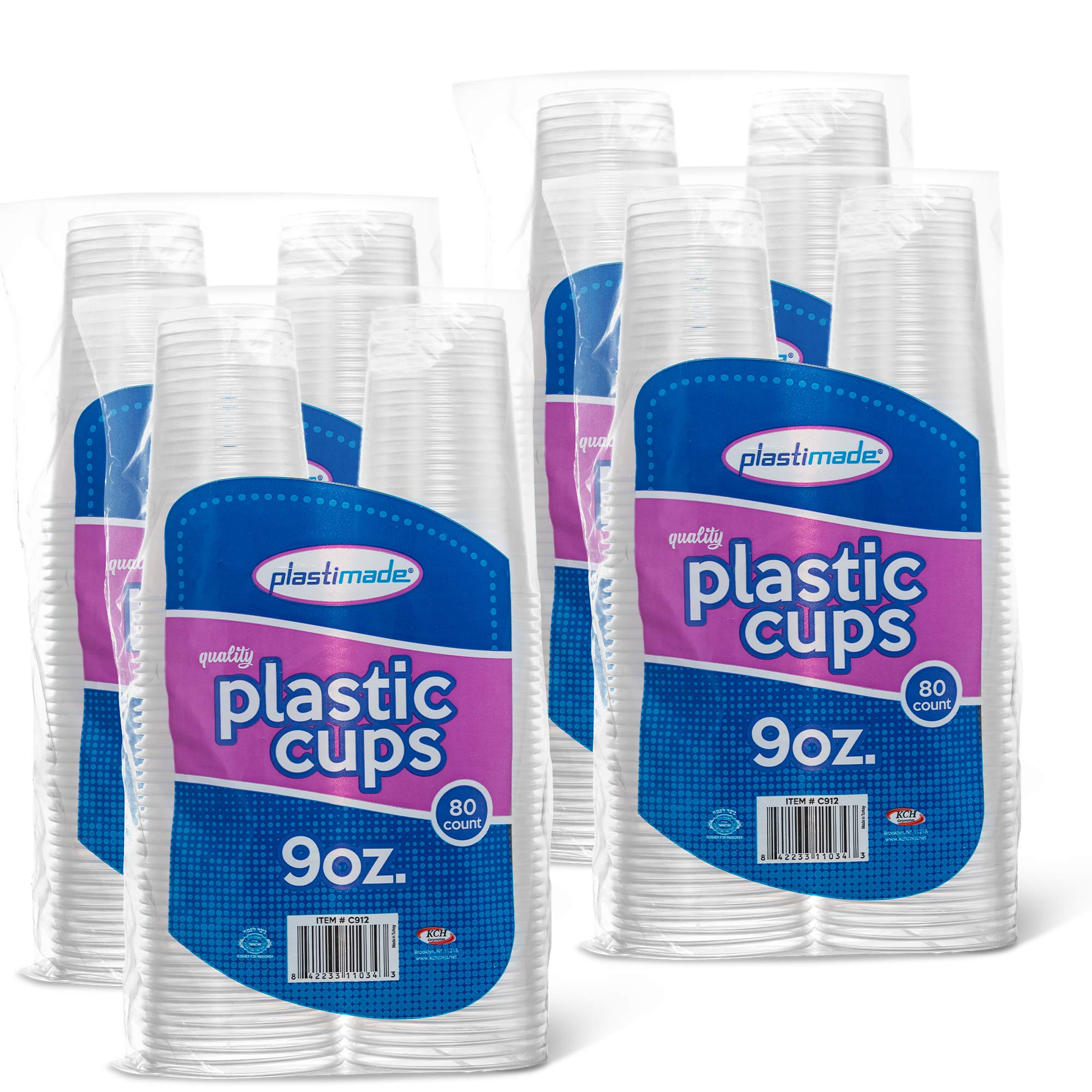 [320 Count] PlastiMade 9 Oz Clear Plastic Disposable Reusable Drinking Cups For Home, Office, Wedding, Events, Parties, Take Out, Water, Juice, Soda, Beer Cocktails (4 Packs)