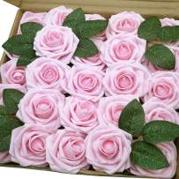 J-Rijzen Artificial Flowers 50pcs Real Looking Fake Roses with Stem for DIY Wedding Bouquets Centerpieces Party Baby Shower Home Decorations (Light Pink)
