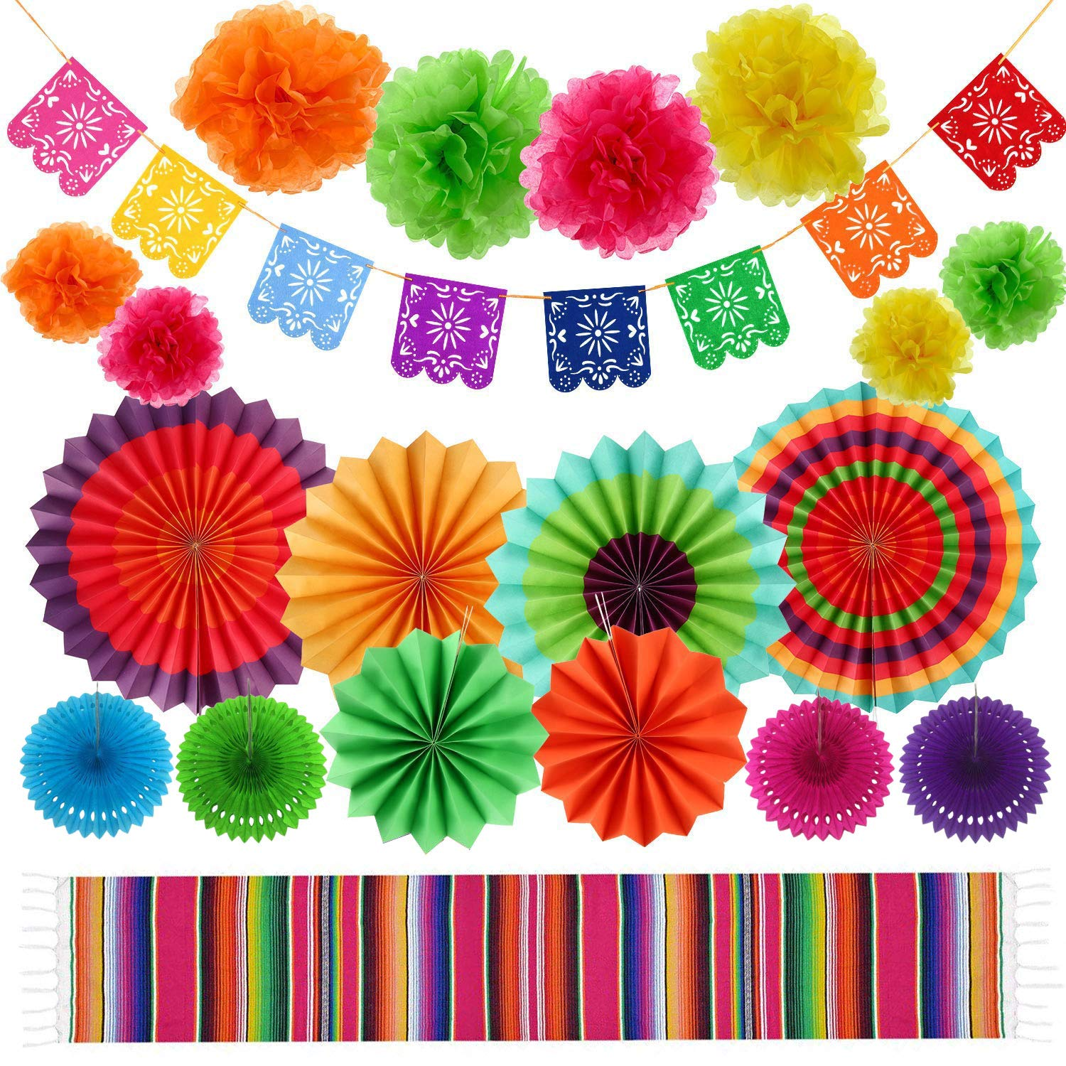 Fiesta Party Supplies Mexican Party Decorations Set 20 Pieces, Serape Table Runner, Paper Hollow Fans, Paper Fans, Pom Poms Flowers, Picado Banner for Cinco De Mayo Birthday Parties, Wedding Décor