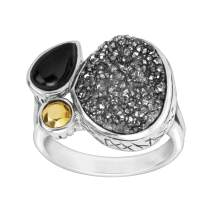 Silpada 'Crystal Cave' Natural Agate & Druzy Ring in Sterling Silver & Brass