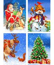 Ginfonr 4 Pack 5D Diamond Painting Santa Snowman Reindeer Christmas Tree Diamonds Art by Number Kits, Xmas Snowscape Rhinestone Full Drill Paint with Diamonds Craft Home Decor 12x16 inches