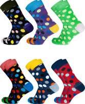 SIXDAYSOX Dress Socks for Men Funny Socks Patterned Novelty Crazy Socks Women Cotton Crew Socks Fashion 6 Pack