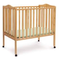 Delta Children Folding Portable Mini Crib with Mattress, Natural