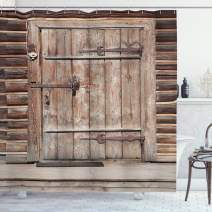 """Ambesonne Rustic Shower Curtain, Timber Rustic Door in Wall of an Old Log House Abandoned Building Entrance Gate, Cloth Fabric Bathroom Decor Set with Hooks, 70"""" Long, Light Brown"""