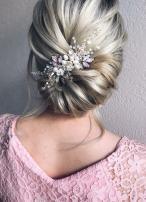 Kercisbeauty Wedding Bridal Bridesmaids Vintage Tiny Pearl Beads Purple and Blue Rhinestones White Flower Hair Comb Headpiece(Rose Gold)
