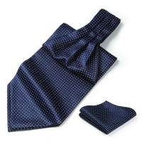 HISDERN Men's Ascot Houndstooth Dot Jacquard Woven Gift Cravat Tie and Pocket Square Set