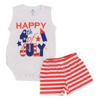 Unique Baby Boys Happy 4th of July Tank Summer Striped Shorts Set
