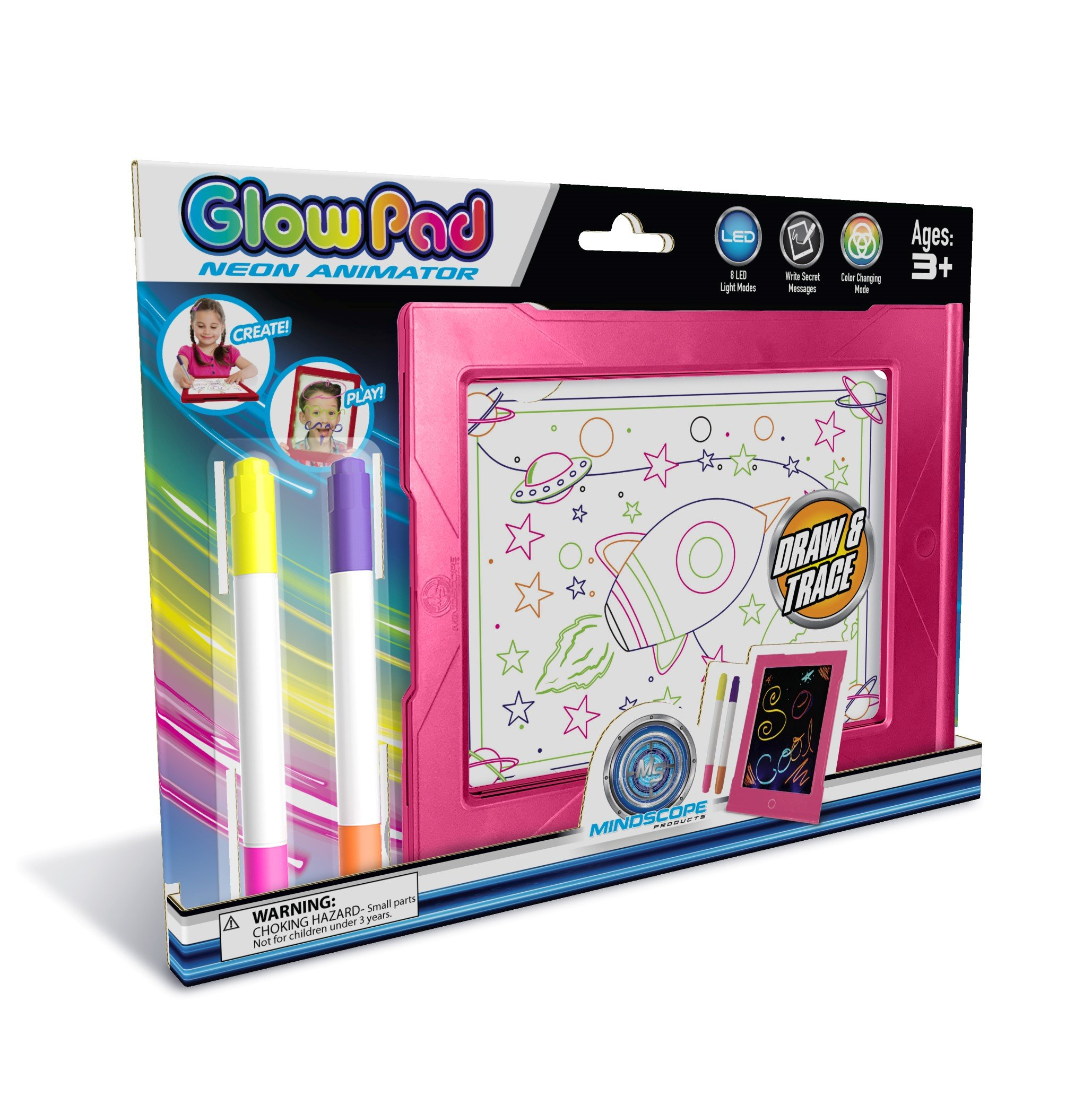 Mindscope Light Up LED Glow PAD Writing Board Pink Animator with Glow Markers