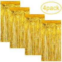 4 Pack Gold Tinsel Curtain | 3.2ft x 6.5ft Metallic Foil Fringe Curtains Photo Backdrop for Grad Birthday Wedding Bridal Shower Baby Shower Engagement | Graduation New Year Party Decoration Supplies