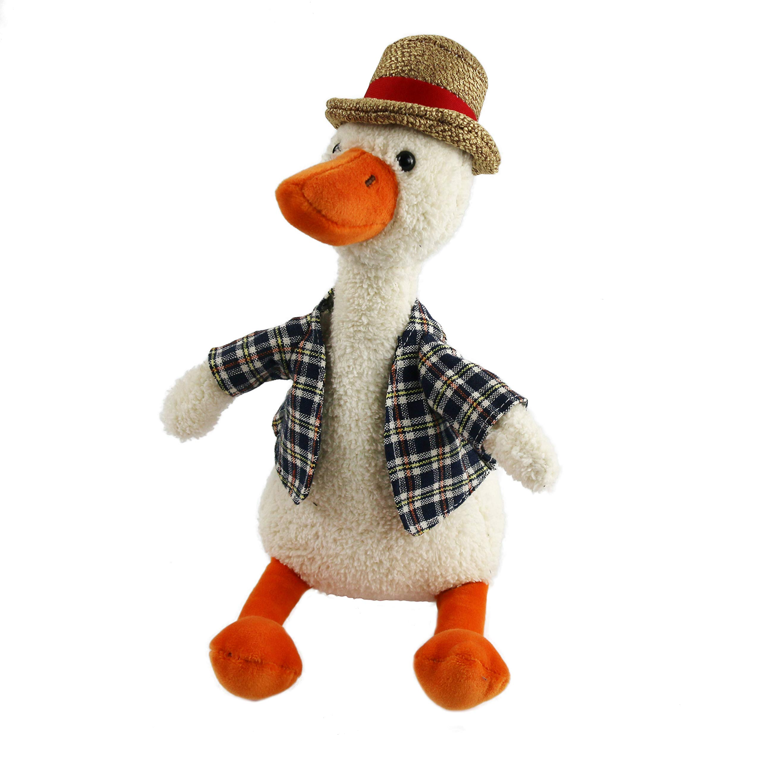Houwsbaby Plush Duck in Plaid Shirt Plush Toy Totter Stuffed Animal with Hat, Adorable Gift for Kids Boys Girls on Holiday Christmas Birthday, Beige, 11''