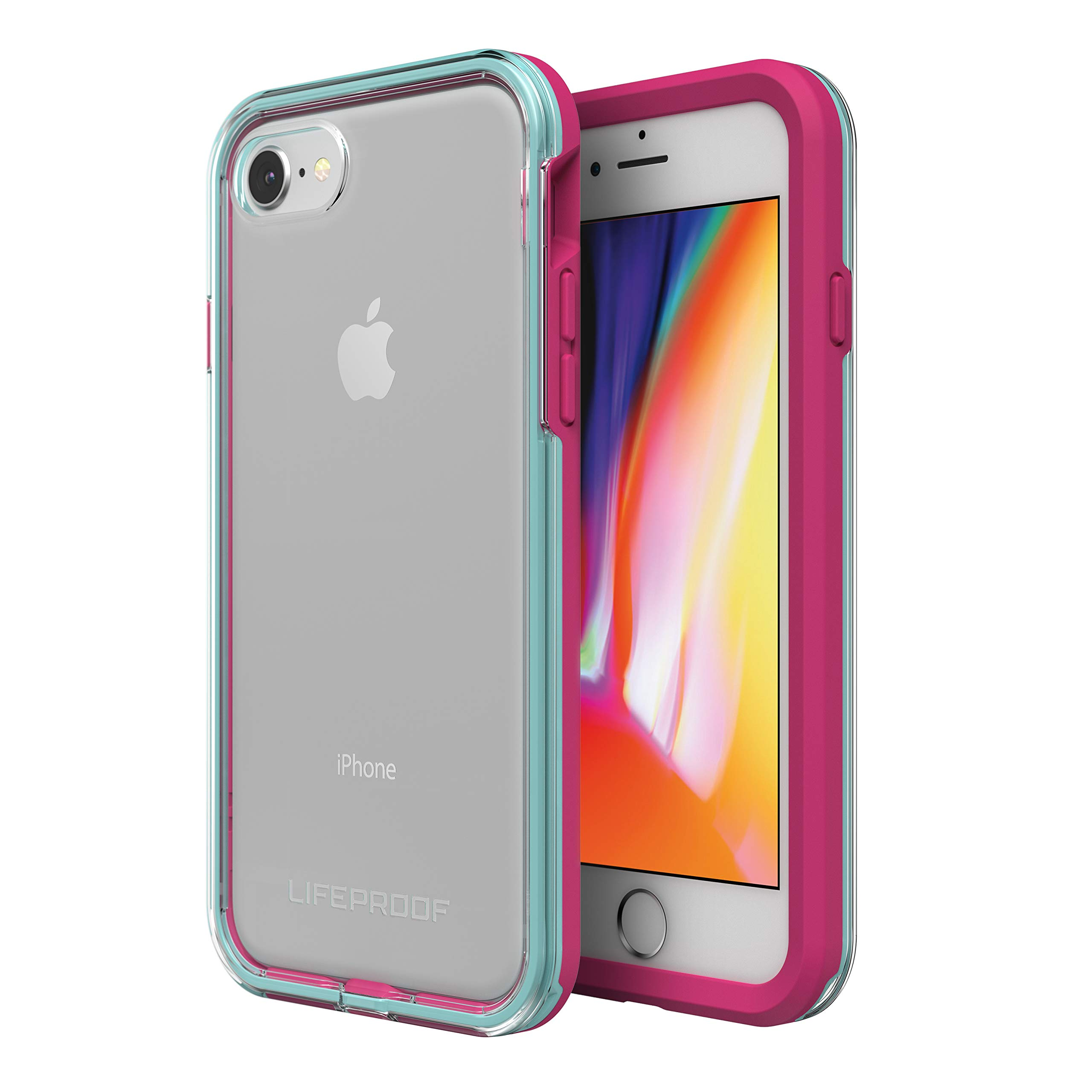 Lifeproof SLAM Series Case for iPhone SE (2nd Gen) and iPhone 8/7 (NOT Plus) - Retail Packaging - Aloha Sunset (Clear/Blue Tint/Process Magenta)
