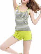 Aoymay Women Cotton Pajama Set Round-Neck Striped Nightwear PJ Sleeveless Top and Shorts