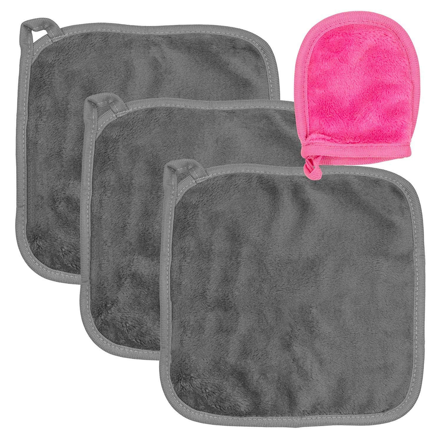 MICHIKO Makeup Remover Cloth 3 Pack,Reusable Microfiber Cleansing Towel,Suitable for All Skin Types,Includes Additional Mini Cleaning Gloves ,Continuously Soft And Comfortable