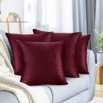 """Nestl Bedding Throw Pillow Cover 18"""" x 18"""" Soft Square Decorative Throw Pillow Covers Cozy Velvet Cushion Case for Sofa Couch Bedroom, Set of 4, Burgundy Red"""