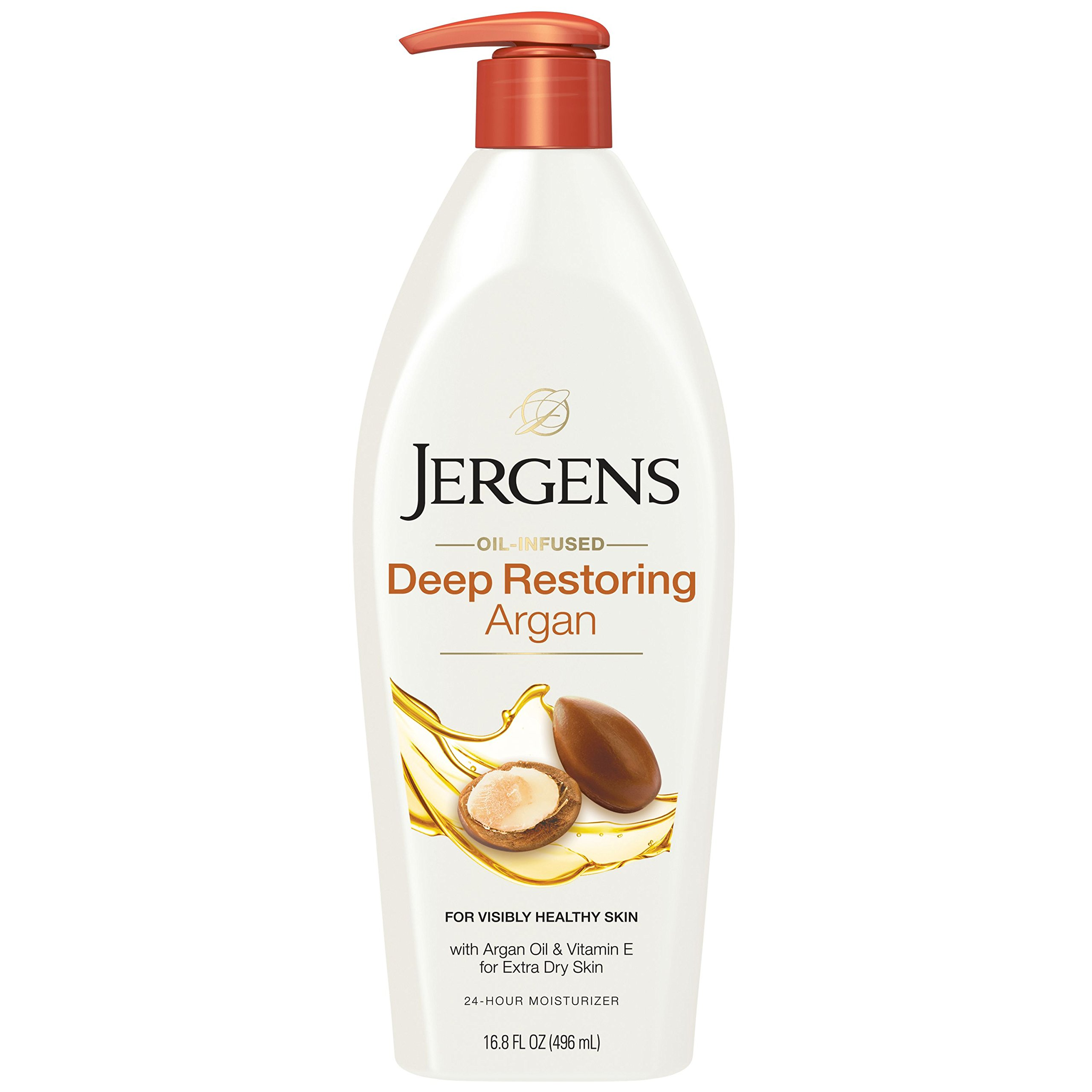 Jergens Deep Restoring Argan Oil Moisturizer, 16.8 Ounce, Soothing Full-Body Moisture, with Reviving Argan Oil and Vitamin E, Oil-Infused, Dermatologist Tested