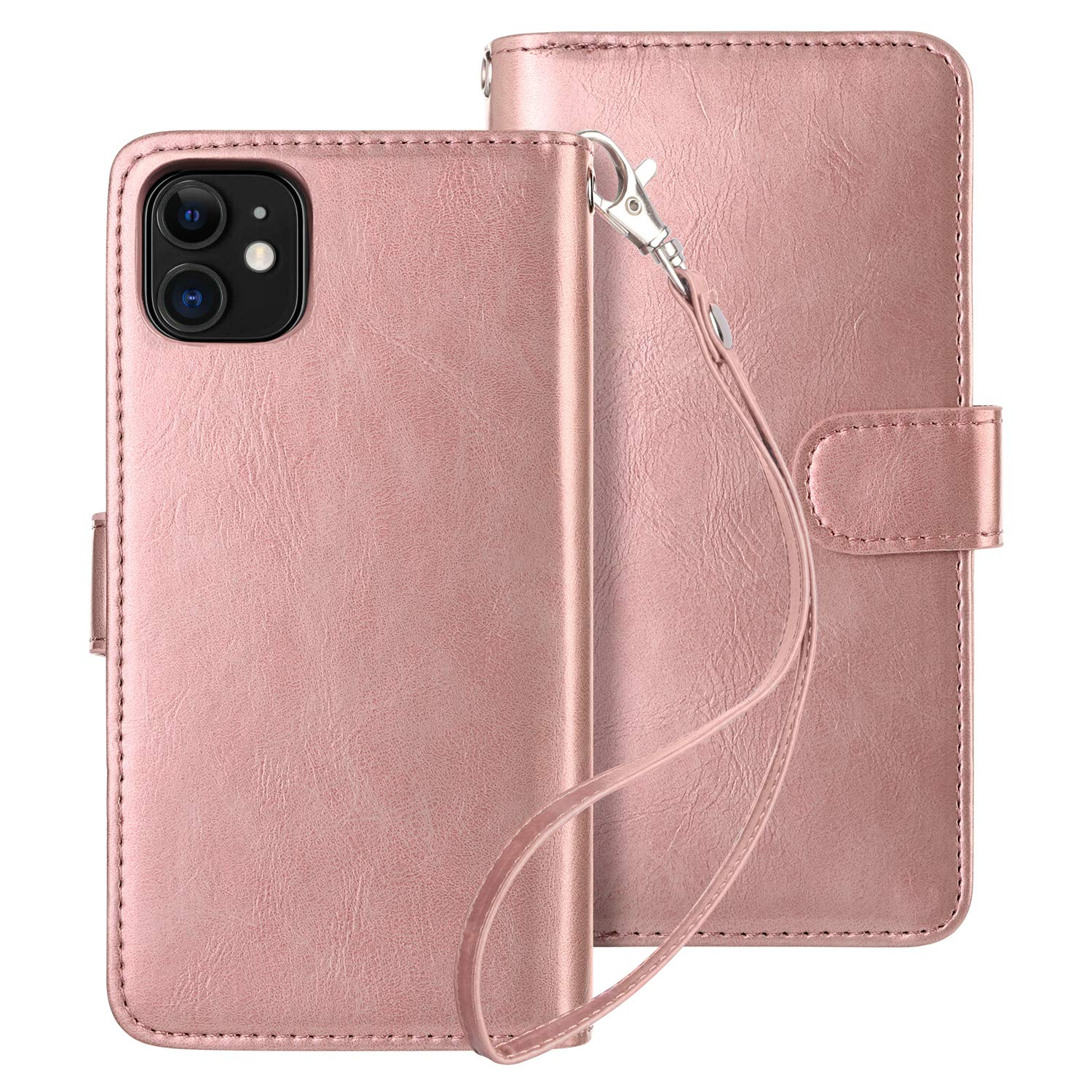 HianDier Case for iPhone 11 Wallet Cases with Card Holder 9 Slots Detachable PU Leather Flip Cover Shockproof Magnetic Clasp Lanyard Dual Layer Wallet Case for 2019 iPhone 11 6.1 Inches, Rose Gold