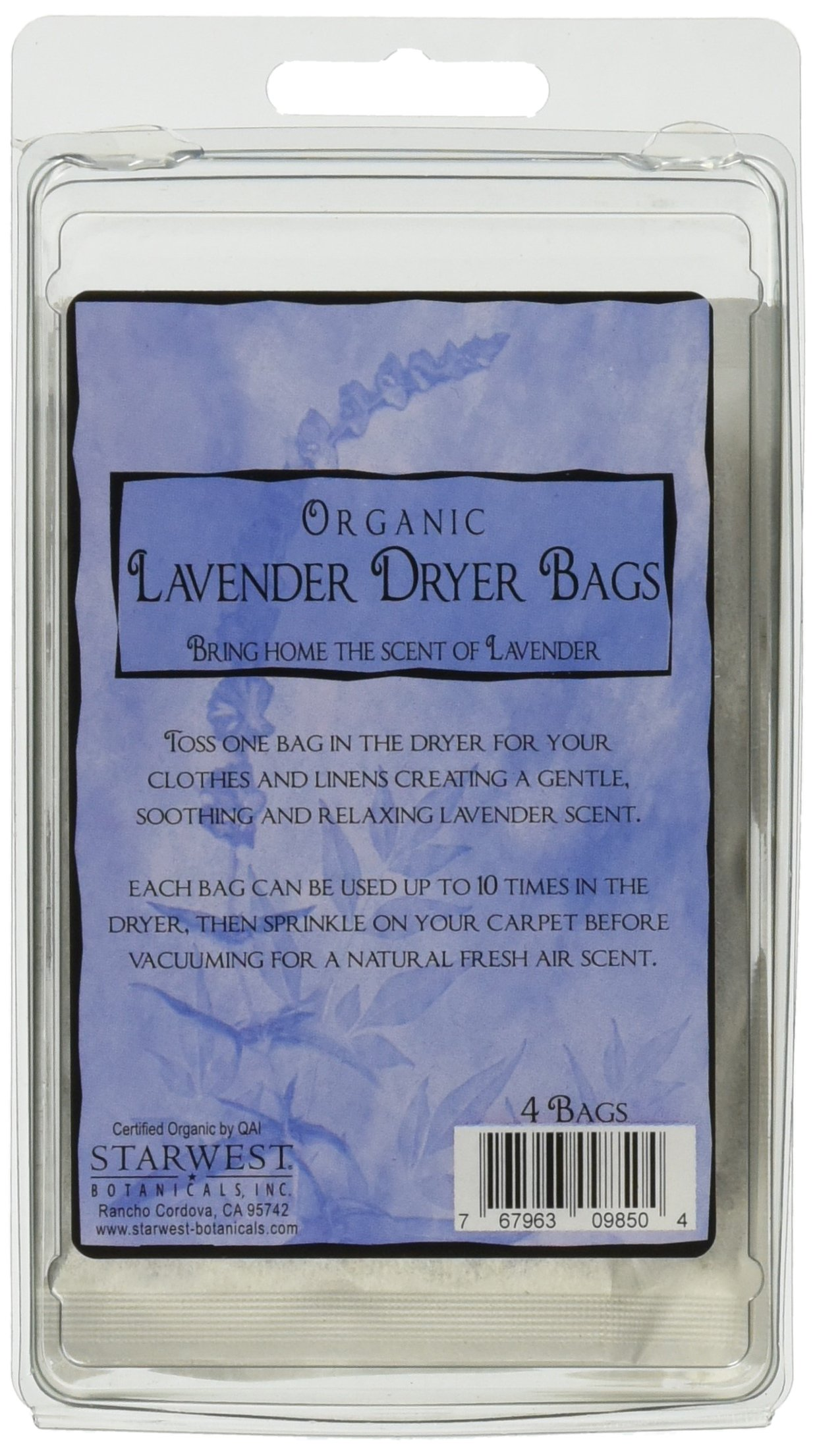 Starwest Botanicals Organic Lavender Dryer Bags, 4 Count