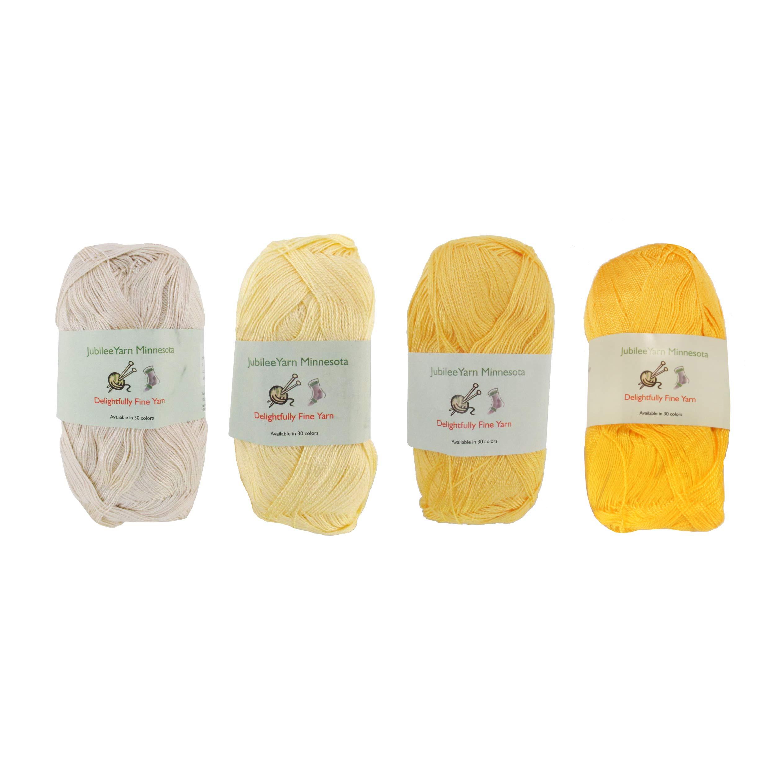 Lace Weight Tencel Yarn - Delightfully Fine - 60% Bamboo 40% Tencel Yarn - 4 Skeins - Shades of Yellow Assortment