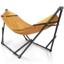 Tranquillo QG7F Universal Hammock Stand-1.2mm Thickness Steel Frame with Hanging Net, Double, Yellow