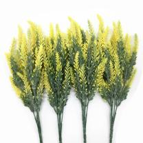 CATTREE Artificial Lavender, Plastic Plants Fake Flowers Bouquet Home Bridal Wedding Office Party Garden Balcony Indoor Outdoor DIY Centerpieces Arrangements Simulation Craft Decoration Yellow 4pcs
