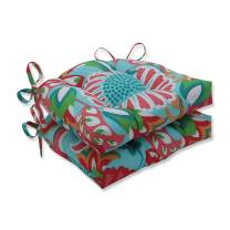 """Pillow Perfect Outdoor/Indoor Sophia Chair Pads, 15.5"""" x 14.5"""", Turquoise/Coral, 2 Pack"""
