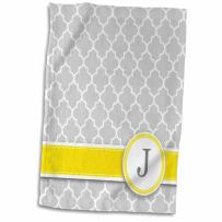 """3D Rose Name Initial Letter J-Monogrammed Grey Quatrefoil Pattern-Personalized Yellow Gray Towel, 15"""" x 22"""", Multicolor"""