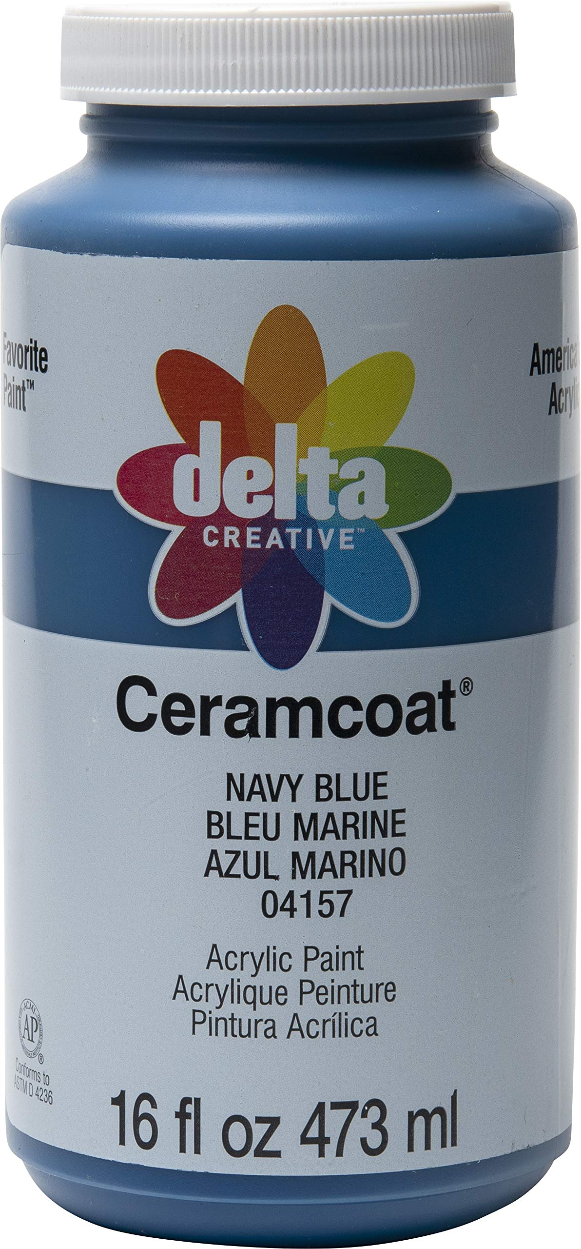 Delta Creative 04157 Ceramcoat Acrylic Paint in Assorted Colors, 16 oz, Navy Blue