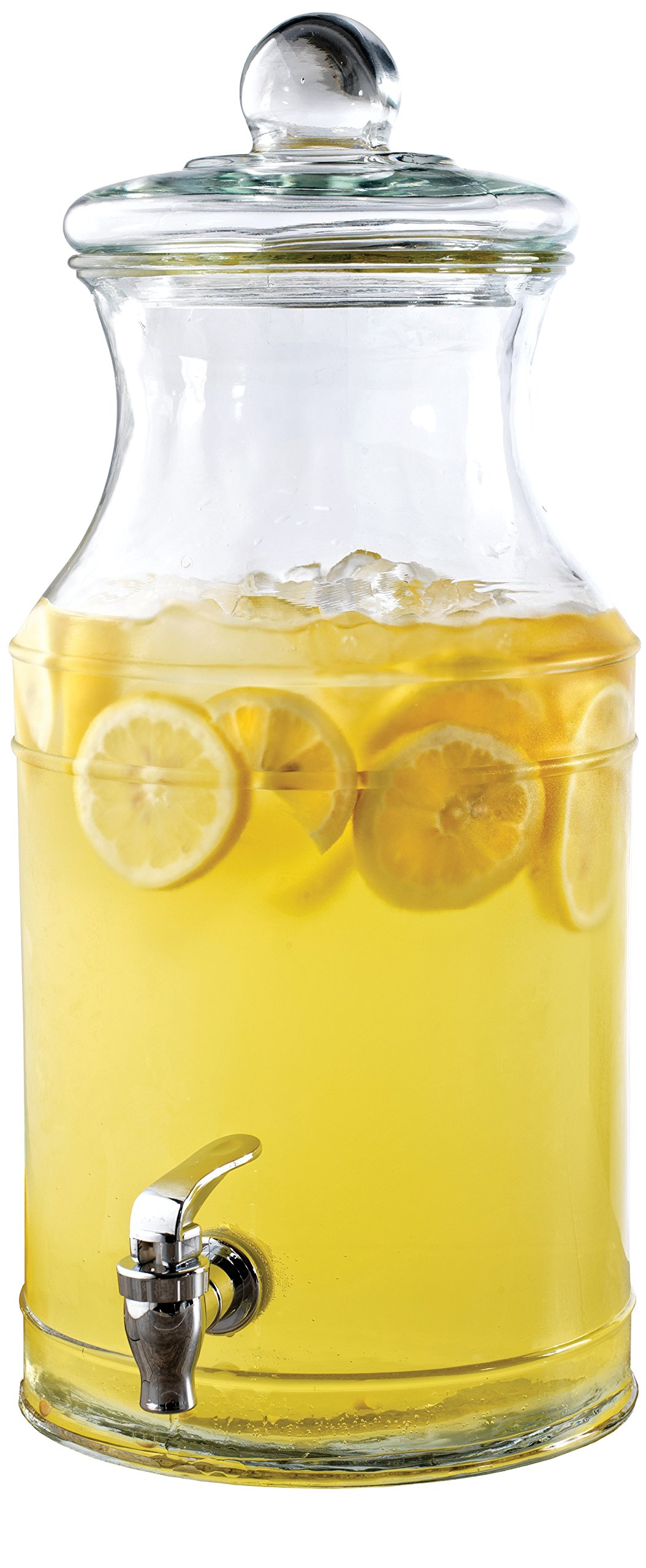 Circleware 66978 Sun Tea Jar Beverage Dispenser and Glass Lid, Party Entertainment Home & Kitchen Glassware Water Pitcher for Juice, Beer, Kombucha & Cold Drinks, Huge 2.1 Gallon, Valley Farm