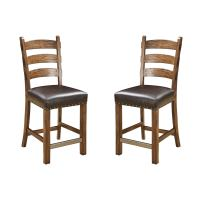 """Emerald Home Chambers Creek Brown 24"""" Bar Stool with Upholstered Faux Leather Seat And Nailhead Trim, Set of Two"""