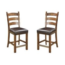 "Emerald Home Chambers Creek Brown 24"" Bar Stool with Upholstered Faux Leather Seat And Nailhead Trim, Set of Two"
