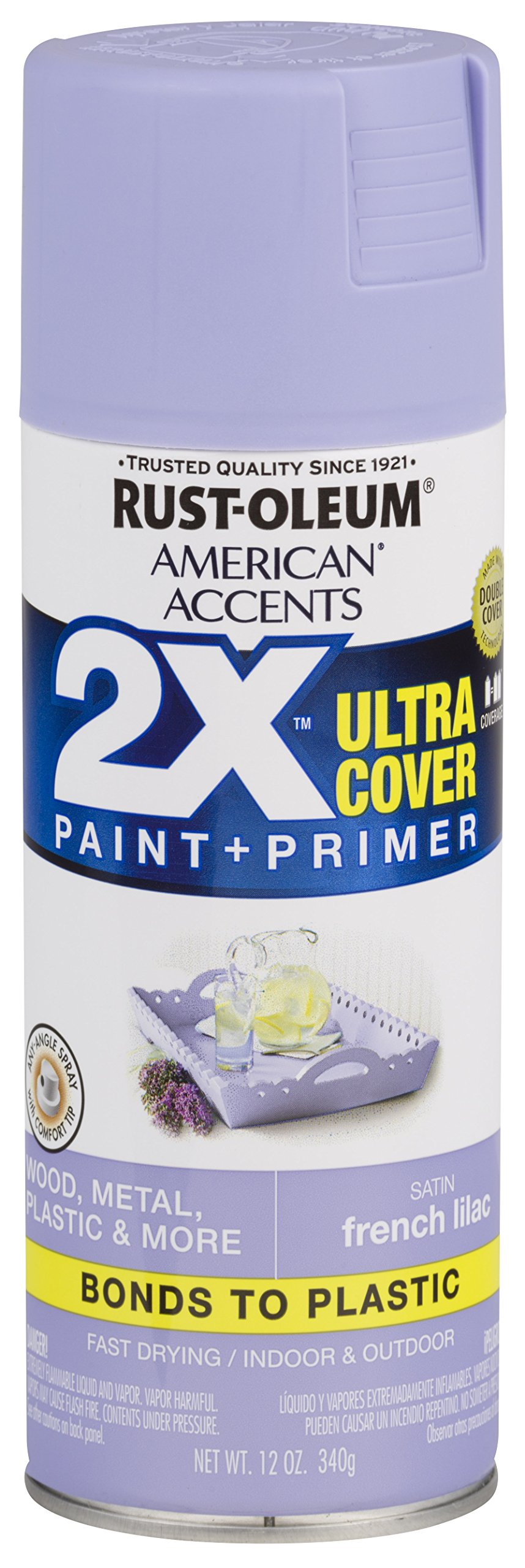 Rust-Oleum 327926 American Accents Spray Paint, 12 oz, Satin French Lilac