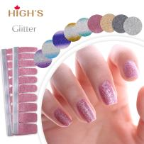 HIGH'S Upgrade EXTRE ADHESION Nail Wraps Decals Art Transfer Sticker Collection Manicure DIY Fullnail Polish patch Strips for Wedding, Party, Shopping, Travelling, 20pcs(Fuchsia)