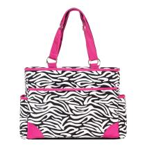 SoHo Pink Zebra Diaper Bag Tote Purse 6Pc Set