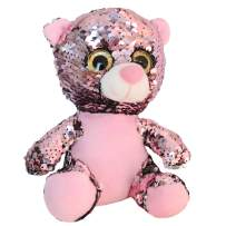 Athoinsu Flip Sequin Teddy Bear Stuffed Animal Sparkle Plush Toys with Reversible Glitter Sequins Christmas Thanksgiving Day Gifts for Kids Toddlers, Pink, 10''