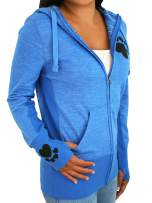 Paw Addict Womens Paw Print Full Zip Hoodie Stylish Fit Activewear Workout Sweatshirt Athletic Jacket with Thumb Holes